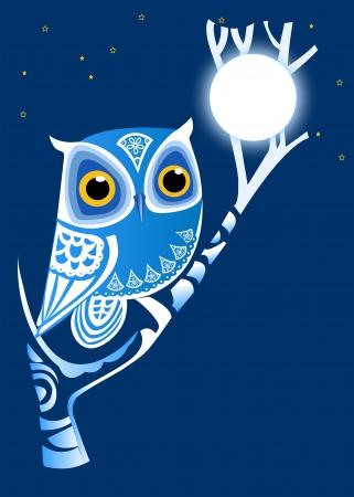 Folk owl on a tree