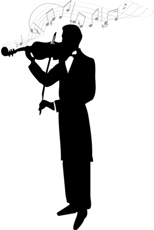 fiddle: Violinist Silhouette Illustration