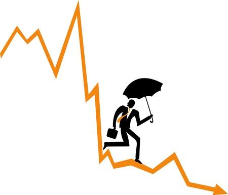 downfall: Businessman on a financial diagram