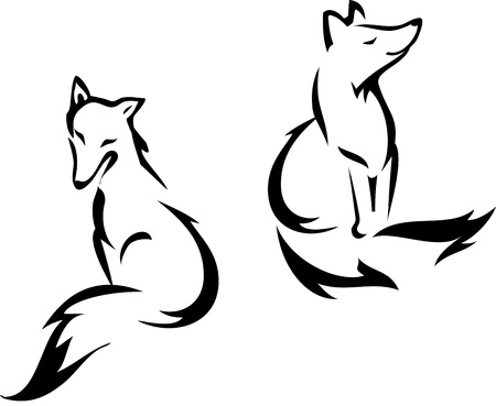 Sitting foxes