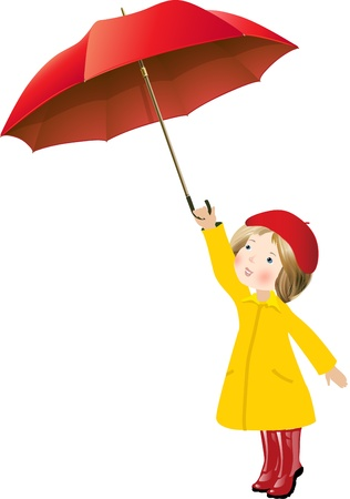 Girl with red umbrella Illustration