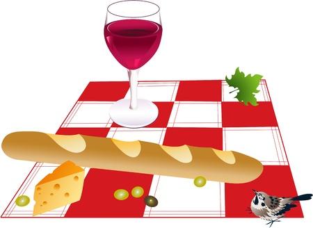 plaited: Comida de picnic Vectores