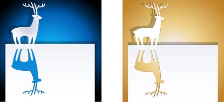 Deer paper cutout Illusztráció