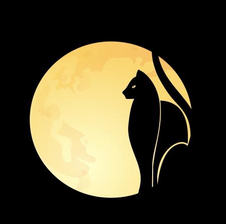 black: Black cat   full moon