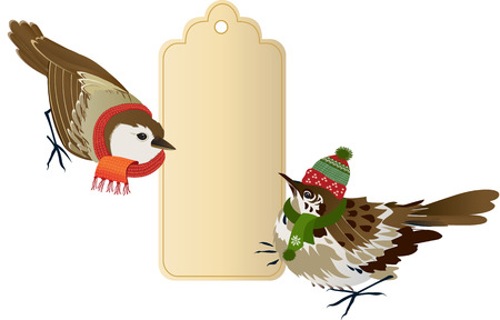 Sparrows with a winter sale tag Vector
