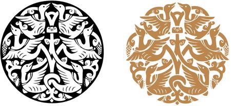 bird  celtic: Birds round ornament