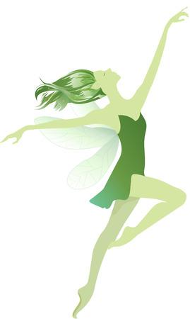 lyrical dance: Green fairy Illustration