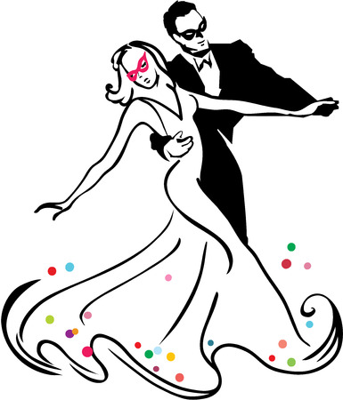 ballroom dancing: Carnival dancers Illustration