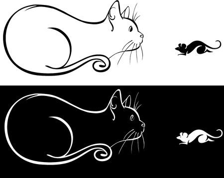 silueta de gato: Un gato y un ratón