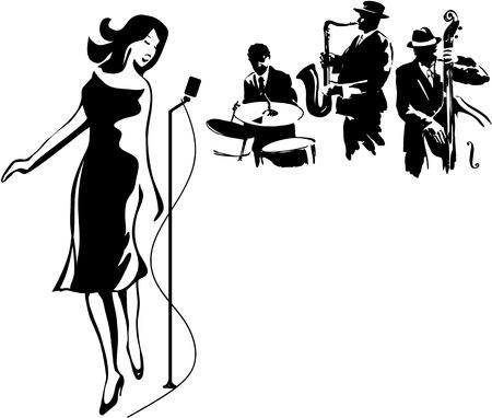 Female Jazz singer Stock Illustratie