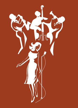 Female Jazz singer Vectores