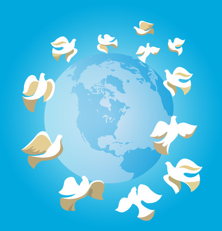 heaven and earth: Doves of Peace around globe