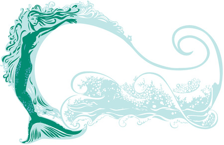 Mermaid with a wave background  イラスト・ベクター素材