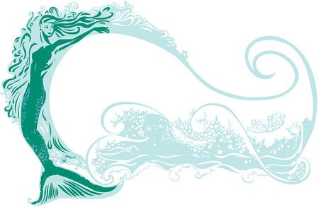 cola mujer: Sirena con un fondo de onda