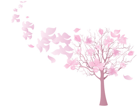 heaven on earth: Spring tree and flying birds