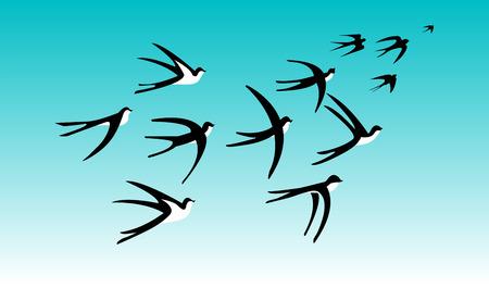 ツバメの群れ  イラスト・ベクター素材