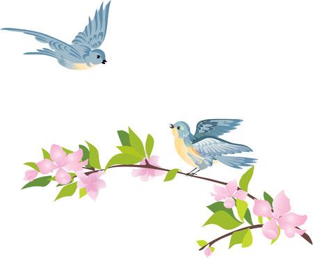 Vogels en bloeiende boom