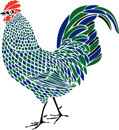 crowing: Multicoulour Rooster Illustration