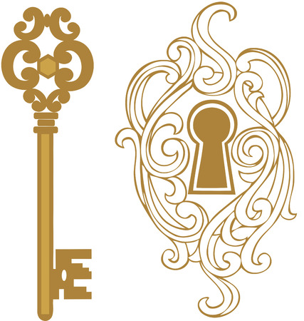 antique keys: Key hole and golden key Illustration