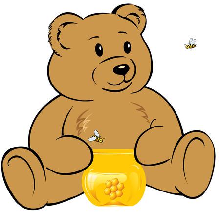 Teddybeer met een pot honing Stock Illustratie