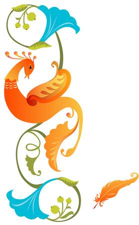 Colourful Firebird fairytale folklore ornament Vector