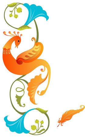 Kleurrijke Firebird sprookjesachtige folklore ornament