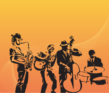 guy playing guitar: Jazz quartet on orange background