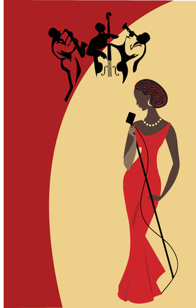 girl in red dress: Female singer and jazz band