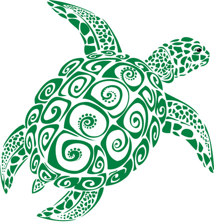 diving: Green sea turtle Illustration