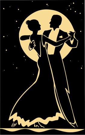 Dansers silhouet op een maan achtergrond Stock Illustratie