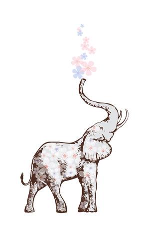 Elefant blowing flowers Vector