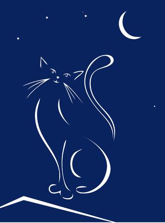 silueta de gato: La gata sobre el tejado de la noche