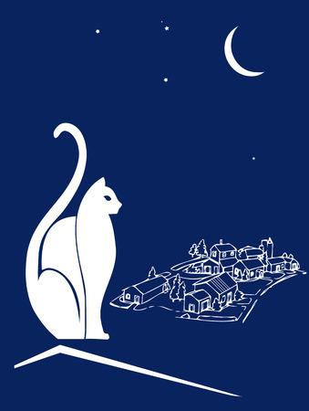 silueta de gato: Gata sobre el tejado de una  Vectores