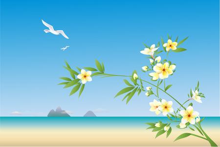 Plumeria bloeiende tak strand landschap Stock Illustratie
