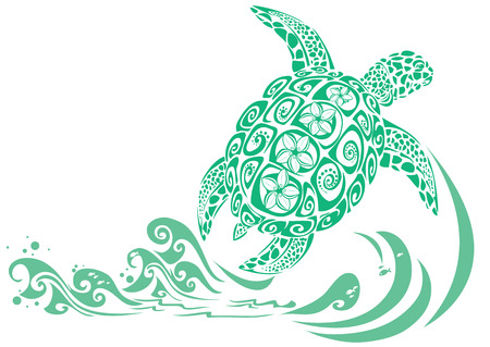 sea green: Green Turtle with plumeria flower pattern