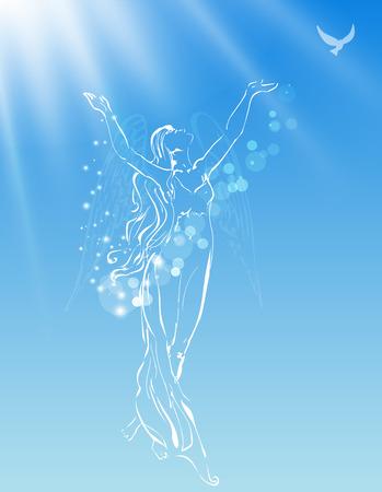 Engelachtige vrouw het vrijgeven van een duif