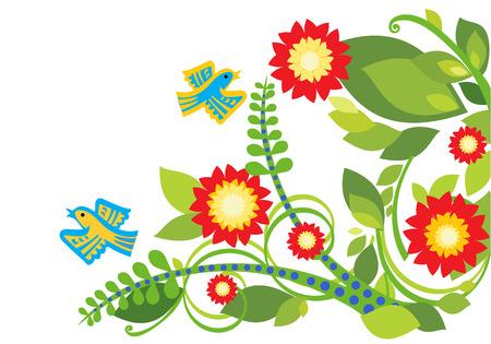 Gestileerde floral achtergrond met heldere bloemen en vogels