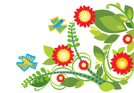 Stylized floral backdrop with bright flowers and birds 向量圖像