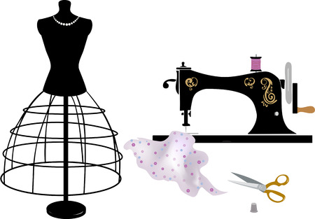 Sewing and tailoring  イラスト・ベクター素材