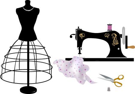 coser: Costura y confección Vectores
