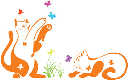 cats playing: Couple of cats playing with butterflies Illustration