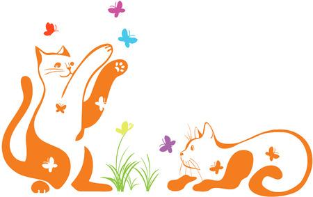 Paar van katten spelen met vlinders Stock Illustratie