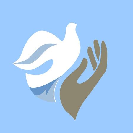 Hand het vrijgeven van duif Stock Illustratie