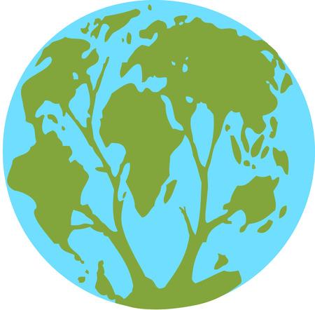 Planet continenten vormen een boom