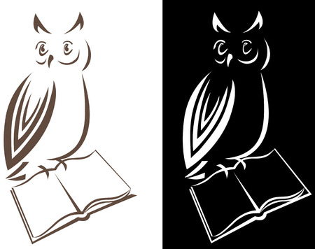 Owl with a book, on isolated  black background