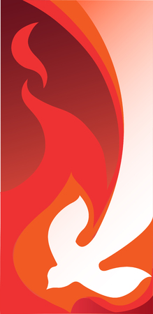 Vogel vliegen in vlammen, verticaal Stock Illustratie