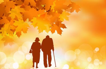 vecchiaia: Golden age, coppia senior in autunno Vettoriali