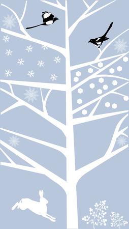 Winter scene met eksters Stock Illustratie