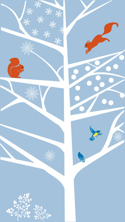 Winter scène met een boom, eekhoorns en vogels