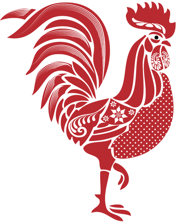 Folk red rooster